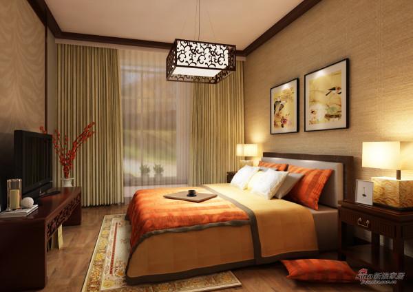 淡淡的黄,配上古典的灯+墙上两幅花鸟图,温馨又不是活泼