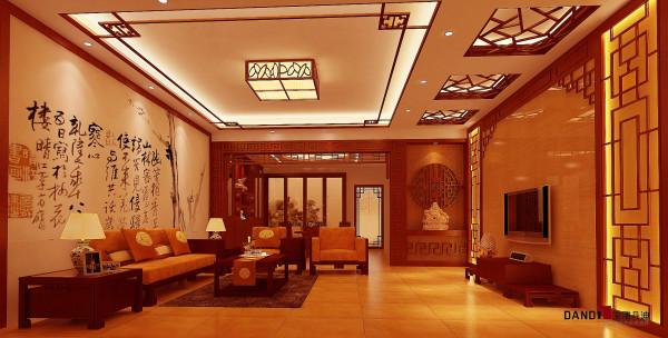 名雕丹迪设计——中式客厅:天然纹理的石材结合中式木格,组合成一种词汇,彼此穿越渗透。缅旬花梨的沙发及茶几,以质感细腻呈现出一种经典美。