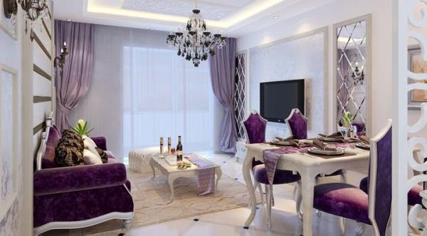 餐厅与客厅融为一体,靠垫都选用了深紫色,与白色的桌子正相配,吊灯在厅中间位置,俩个地方都可以兼顾到...