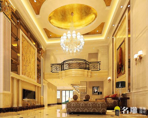 名雕装饰设计——客厅全景图:风格为简欧、兼顾主人喜好、黄色基调为主,配以白色,大气中有家的温馨,统一中有对比,对比中突出细节。