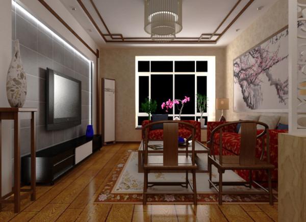 全部墙面壁纸设计凸出空间的温馨典雅,烘托出了空间的柔软温暖,但过于单一的色彩会给人燥热之感,电视墙的青砖设计正好凸出了客厅的大气硬朗和壁纸的柔软形成完整统一。