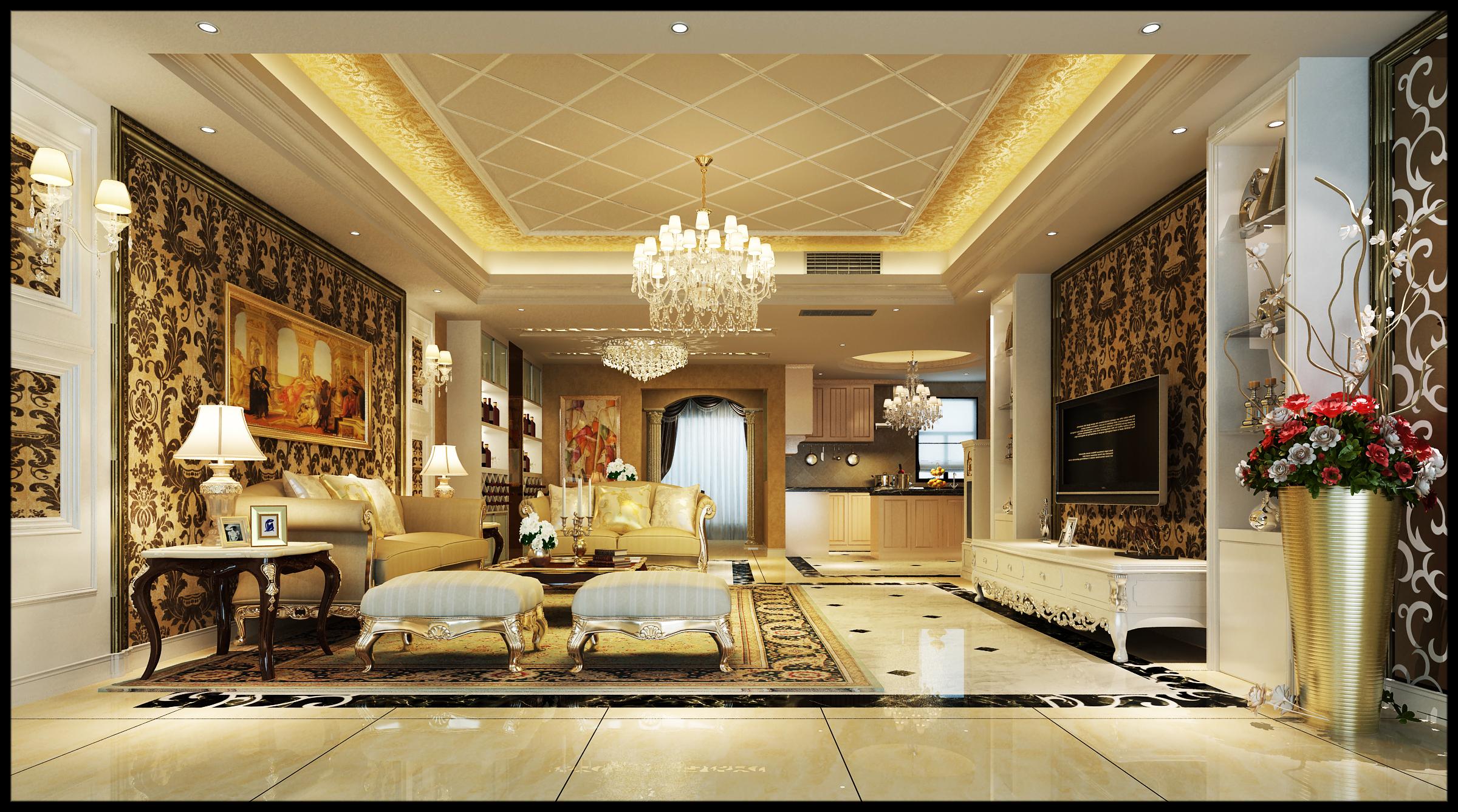 4居 欧式 150平米 庄士 装修 报价 家居 生活 整体家装 客厅图片来自曹丹在庄士映蝶蓝湾-欧式风格-150平米的分享