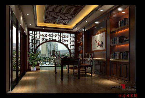 名雕设计——书房:书房采用中式风格,木质书桌椅,搭配大型墙面书柜和圆弧阁门,典雅气息油然而生。
