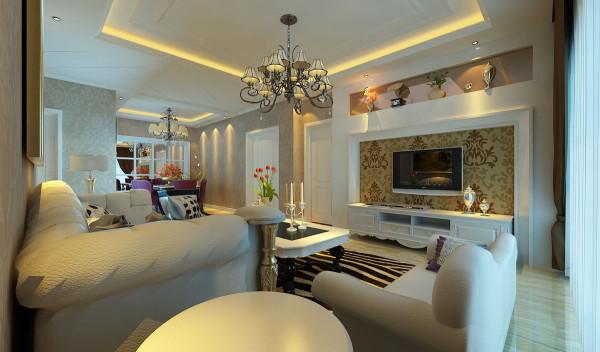 客厅:以简洁的白色混油造型电视墙和壁纸结合,温馨雅致。配合欧式复古的布艺窗帘和欧式家具,创造出温馨简洁的欧式氛围。大理石地砖的地面的运用增加了整个空间的明亮感,大气感。