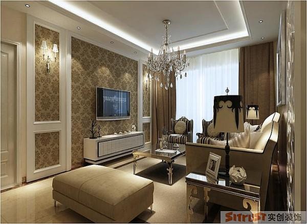 郑州实创装饰-卢浮宫馆143平三居室-电视背景墙