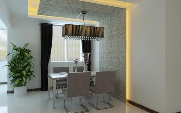 餐厅运用了墙面石膏板造型和顶面石膏板造型相结合运用了反光灯槽和壁纸的衬托,让整个空间的造型和色彩特别有现代感,视觉冲击力强烈。