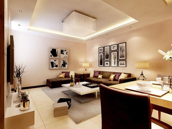 """客厅的吊顶是""""回""""字形的设计,与家具的方方正正形成了呼应。"""