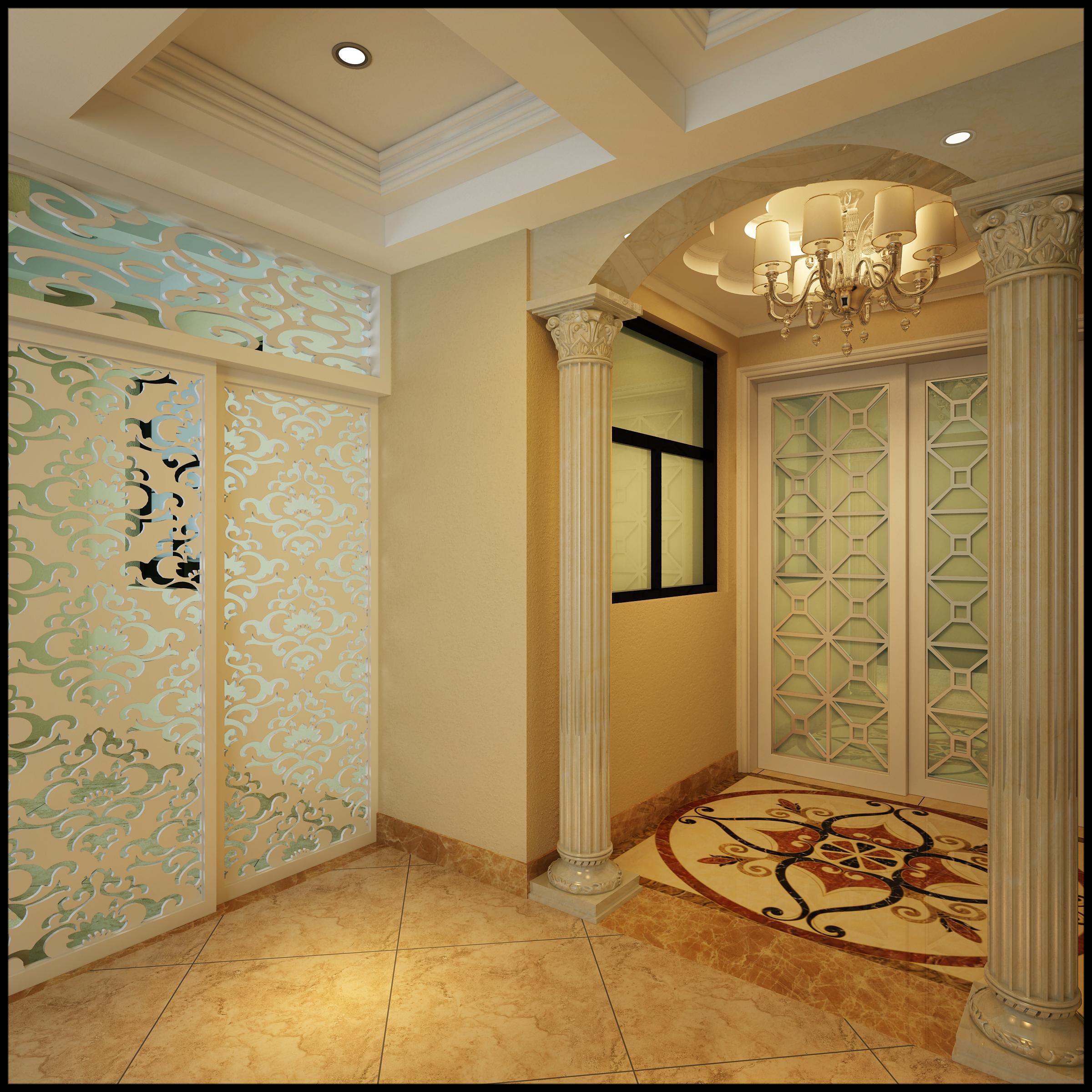4居 欧式 150平米 庄士 装修 报价 家居 生活 整体家装 玄关图片来自曹丹在庄士映蝶蓝湾-欧式风格-150平米的分享