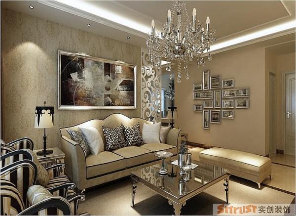 郑州实创装饰-卢浮宫馆143平三居室-沙发背景墙