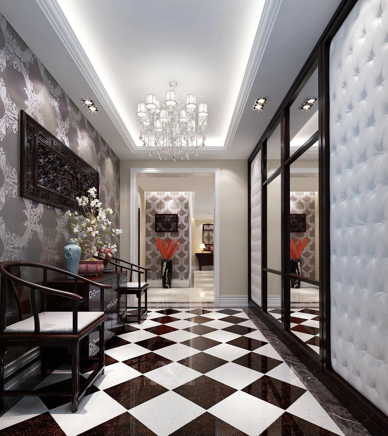 新中式 中西结合 别墅 装修案例 玄关图片来自实创装饰晶晶在600平混搭风势不可挡啊!的分享