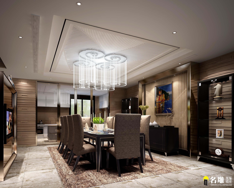 现代 别墅 豪宅装修 低调奢华 高富帅 名雕装饰 餐厅图片来自名雕邓杰在现代风格—400平豪华三层别墅的分享