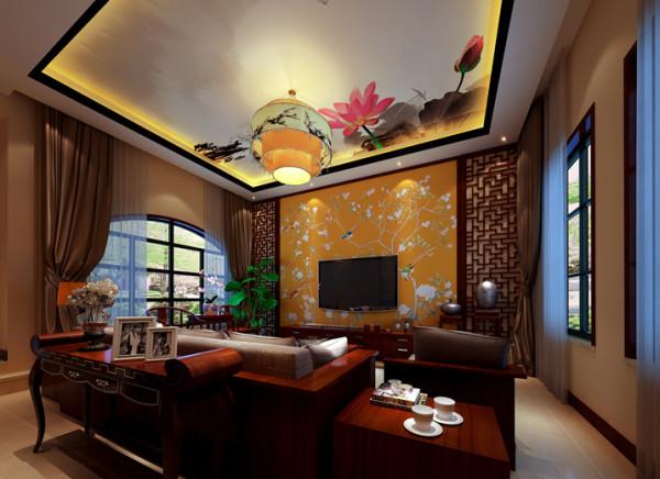 顶面的泼墨画成为整个客厅的焦点,精彩而浑然天成,在轻描淡写间让观者洞悉出深邃的空间内涵,禅意无边。