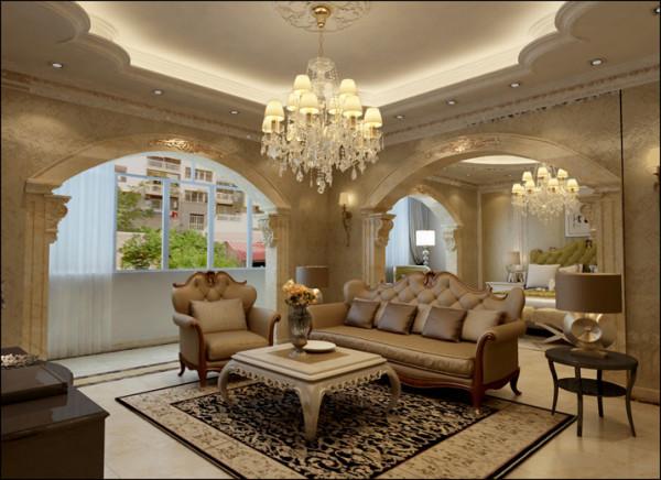 客厅顶部采用大型灯池,并用华丽的枝形吊灯营造气氛。客厅入口处竖起豪华的罗马柱做欧式典型代表装饰,再配以拱形造型垭口,并用带有花纹的石膏线勾边。