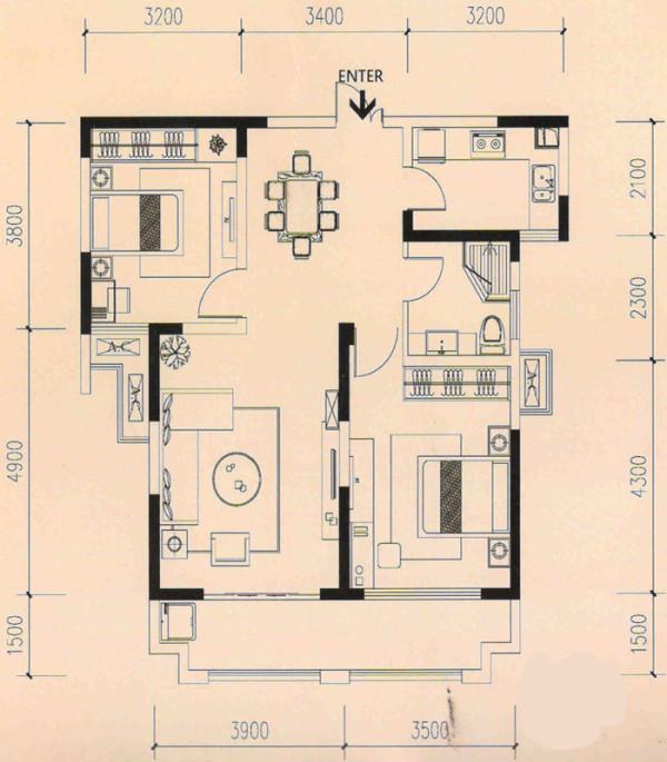 蓝鼎海棠湾97平米 原始房型图