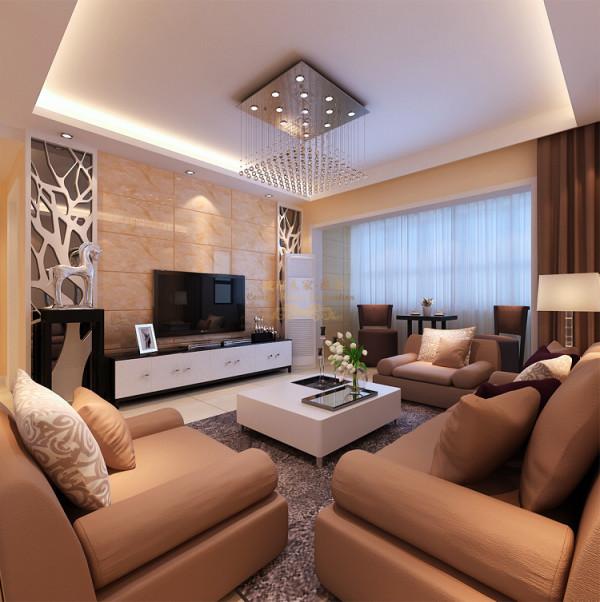 客厅的色调以暖色为主,电视墙米黄色微晶石和镂空花格灰镜做了搭配,简约而不简单,整个房间亮点很凸出,墙面也是淡淡的米色乳胶漆,整体感觉简单大方。