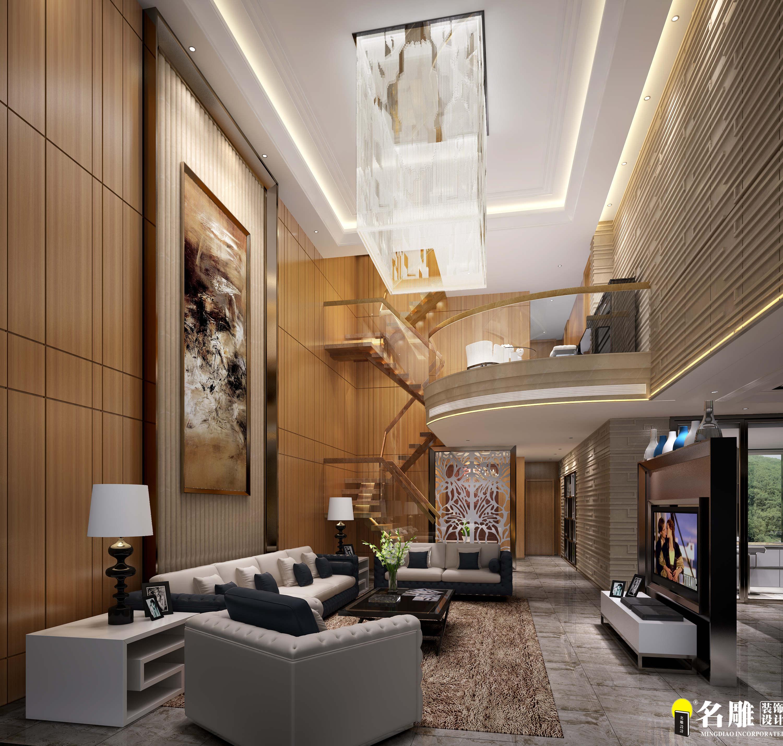 现代 别墅 豪宅装修 低调奢华 高富帅 名雕装饰 客厅图片来自名雕邓杰在现代风格—400平豪华三层别墅的分享