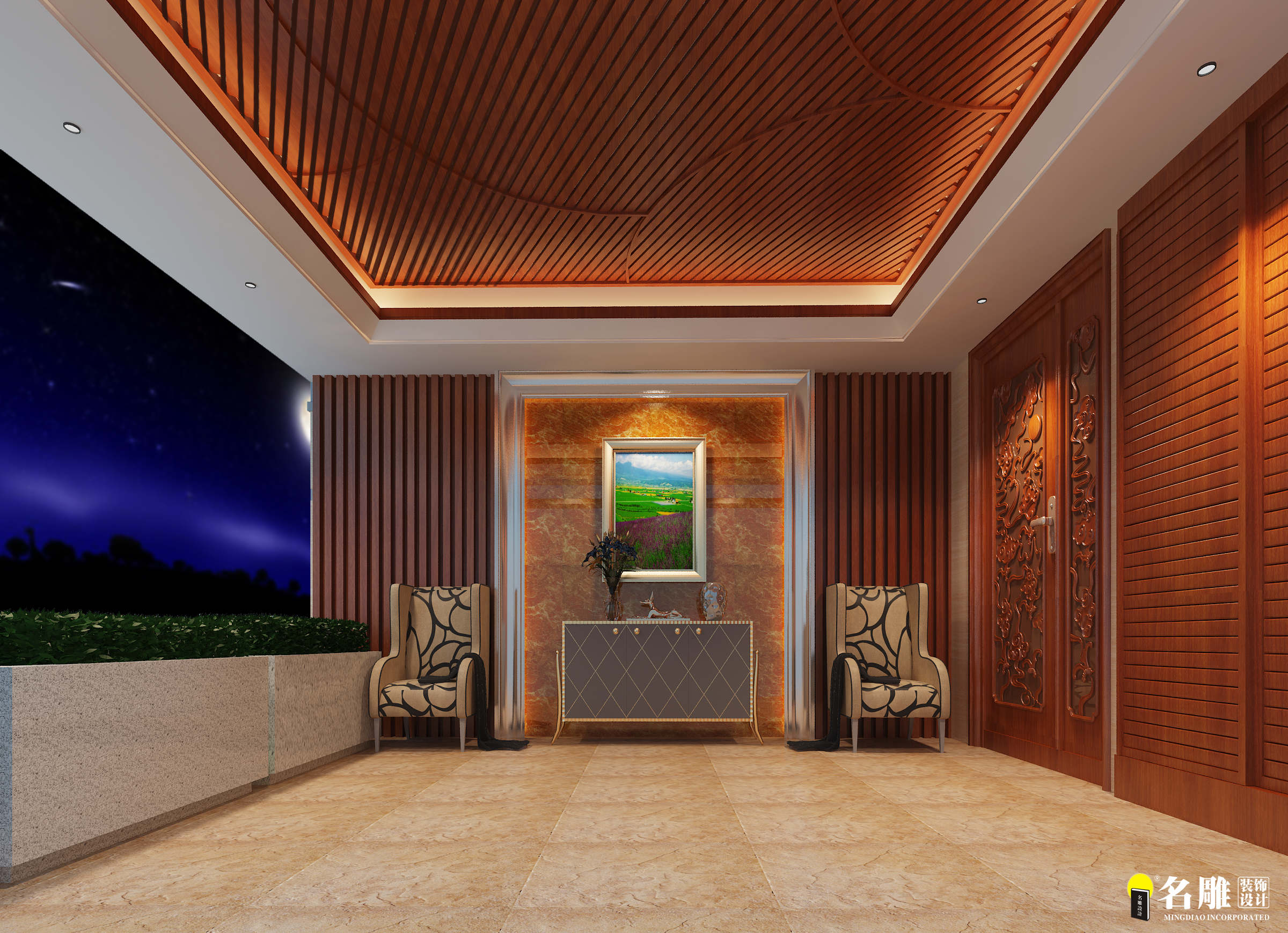 现代 别墅 豪宅装修 低调奢华 高富帅 名雕装饰 玄关图片来自名雕邓杰在现代风格—400平豪华三层别墅的分享