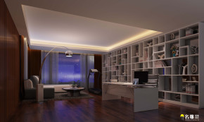 现代 别墅 豪宅装修 低调奢华 高富帅 名雕装饰 书房图片来自名雕邓杰在现代风格—400平豪华三层别墅的分享