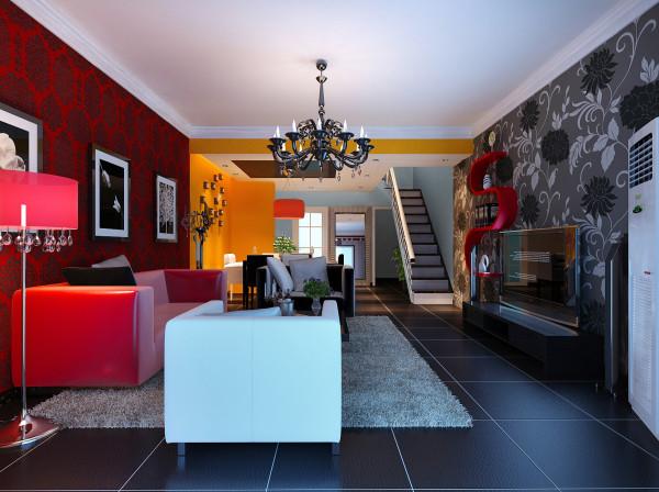 客厅中,各种新型材质如不锈钢、黑色烤漆玻璃、皮纹砖等的合理搭配,都体现出了后现代风格独有的雅致;还有隐形墙的设计可谓电视墙的点睛之笔;婉转优美的吊灯,与浓郁而浪漫的色彩主题墙十分搭配。