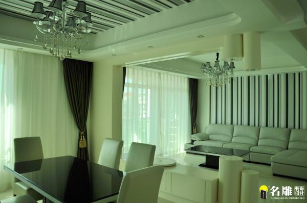名雕装饰设计—现代风格—四居室—客厅:主要以黑白灰的线条来托出干净为利落及现代感