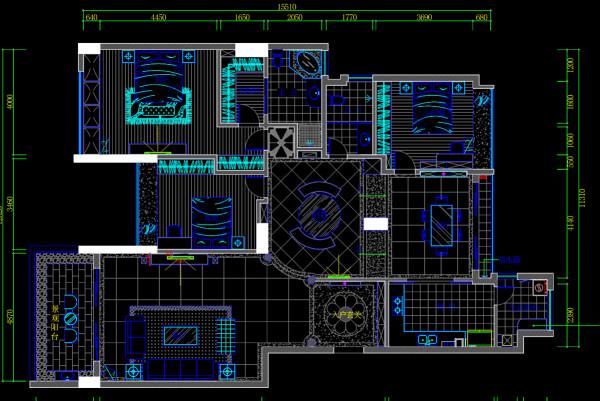 名雕装饰设计——三居室户型图