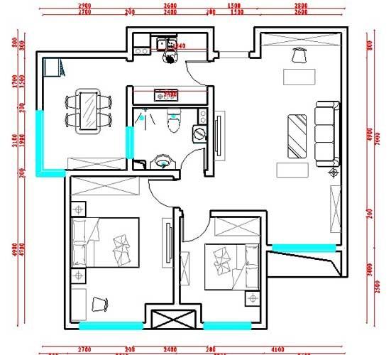 本户型为国耀上河城两室两厅一卫一厨面积约95平米的户型设计。进门右手厨房,左手客厅,在客厅做了一个敞开式书房,为满足业主有一个独立的书房空间。