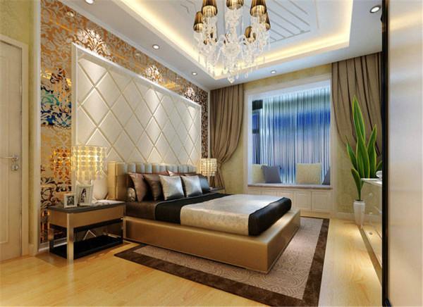主卧室不仅是个休息的空间,同时也要有奢华的感觉,顶部要有别墅高顶的感觉!床头背景的选择很是讲究,米色软包给人感觉比较舒适,外框银白色外框镶嵌,印花玻璃收边,下配真皮矮床,这样整个空间会显出比较上档次。