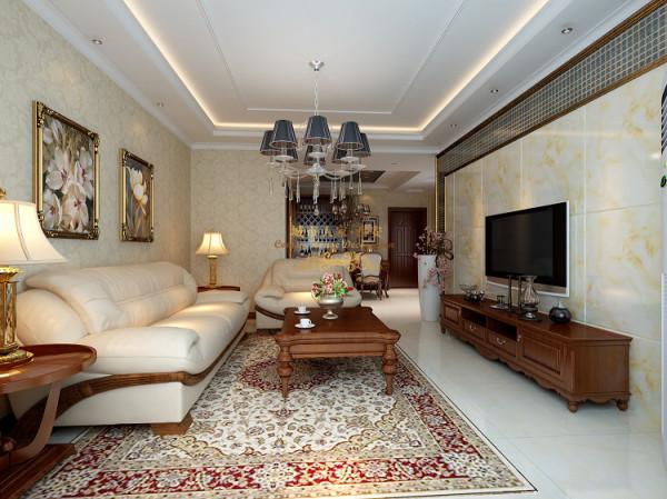 客厅顶面采用直线吊顶造型整体顶部层次丰富!配上欧式的水晶吊灯,同样为了与凸显简欧的设计风格。