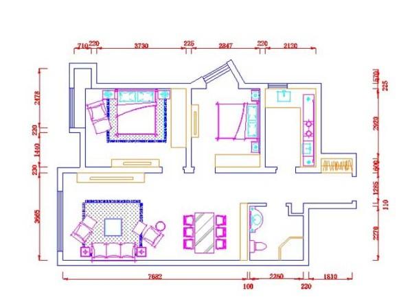 户型说明: 此户型为两室两厅一厨一卫的房型,面积为93㎡。进门处是一个狭长的玄关位置,左右两边分别是卫生间及厨房  往里走是客厅及卧室的位置