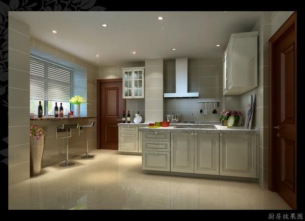 象牙白的橱柜是欧式元素的代表,厨房和吧台在一个空间,合理利用空间,同时还比较直观,温馨,针对家这是一个很好的设计