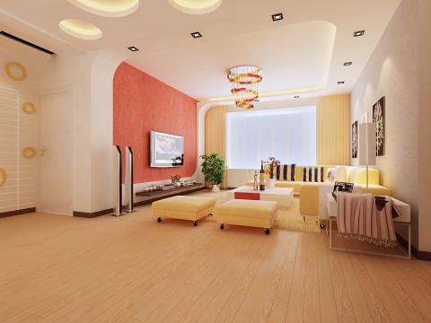 全体空间特性美丽、曼妙灵动,电视布景墙用简略的橙红色墙纸将整个客厅的温情空气烘 托到极致,将简约展示的酣畅淋漓。