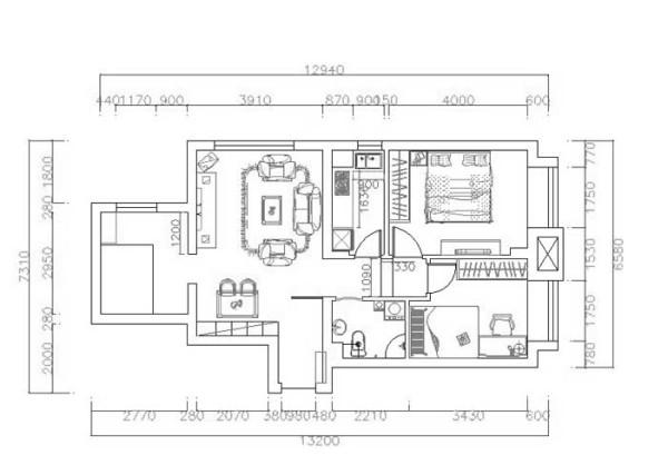 户型分析 此设计为中国铁建国际城三室两厅一卫一厨,建筑面积89㎡。入户门左边是客厅、餐厅和书房,右边是主卧、次卧、卫生间和厨房。