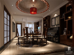 中式 公寓 80后 白领 高富帅 白富美 餐厅图片来自北京高度国际装饰设计在旭辉御府中式公寓的分享