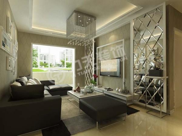 影视墙两侧用车边镜加以装饰,中间用石膏板凸显出电视的区域