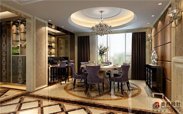 别墅户型欧式风格设计奥邦装饰朱勇作品餐厅设计