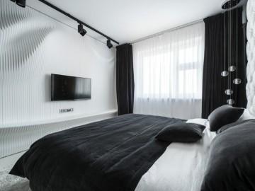 黑白卧室 让墙面成为一道风景