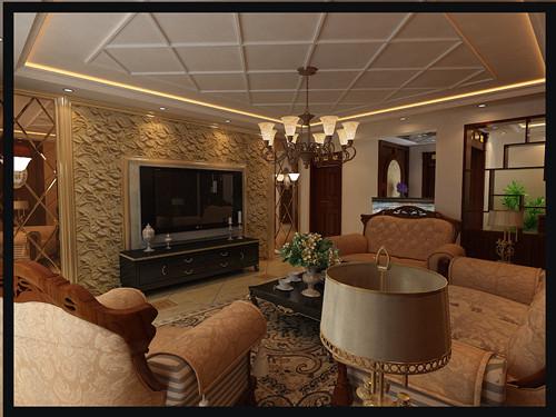 简约欧式-客厅电话背景墙设计