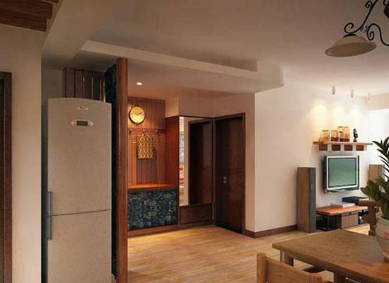 餐厅设计:木器玄关的设计,让人在屋里时刻感受古朴气息。