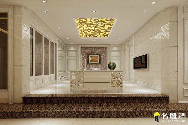 名雕装饰设计——新古典三居室——起居室:以白色为基准色白色加以设计雕饰,整体简洁大方。