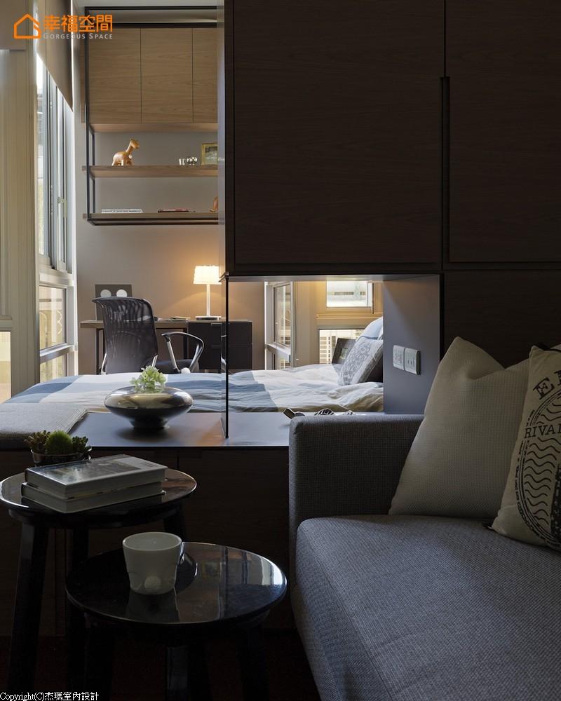 屌丝 蜗居 简约 小资 收纳 小清新 客厅图片来自幸福空间在沒30m²怎住? 城市阳光小宅的分享