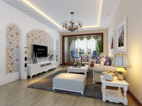 客厅简约实用,碎花壁纸电视背景墙清新淡雅