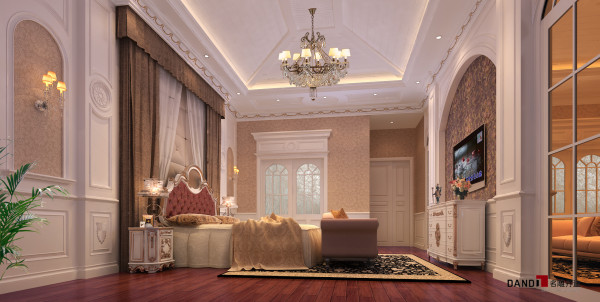 名雕丹迪设计——万科城御水湾别墅--简欧风格--主卧室