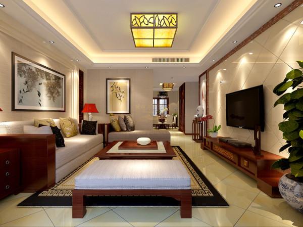 电视背景墙采用石材菱形铺贴形状,运用深色石材收口,从而起到装饰作用,使整个电视背景墙高端大气。