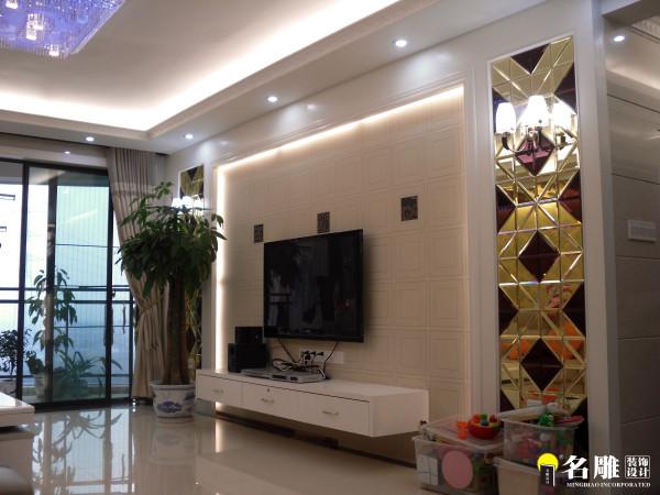 名雕装饰设计-长安花园三居室-现代简约风格-客厅背景墙