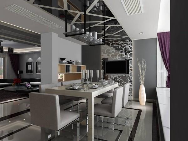 名雕装饰设计—信义长安三居室—现代风格-餐厅