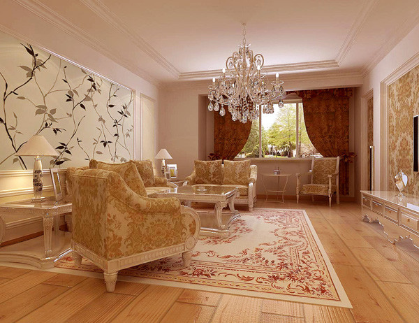 选择白色雕花的、天然材质的餐桌、餐椅为餐厨空间带来独特的视觉感受。灯具、绿色植物和墙上的装饰品必不可少,用具有艺术感的水晶吊灯、造型质朴的白色瓷花瓶和样式特别的墙面装饰营造具有亲和力的空间氛围。