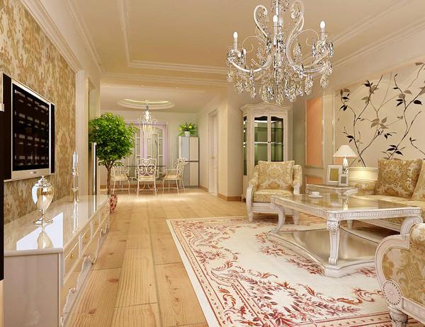 这个客厅使用淡黄色色作为整体基调,再配以舒适的碎花布艺沙发,墙壁上也并不空寂,相框和装饰的花瓶都使它增色不少。鲜花和绿色的植物也是很好的点缀。客厅空间整体给人以温馨舒适的感觉。