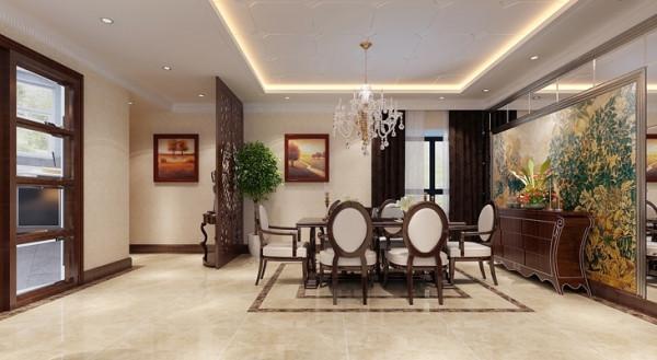 餐厅的设计,由于这套房子业主准备退休以后养老使用的,所以所有的细节部分业主都比较注视,在餐厅的设计思路上,采用后期的软装饰作为搭配,精致的工艺品,是餐厅的氛围体现。