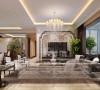 客厅灯具采用水晶灯饰,地面运用了大理石与木纹石两种材质和谐的搭配,共同营造尊贵华丽的空间效果图