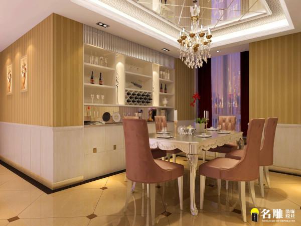 名雕装饰设计—信义长安三居室—后现代—餐厅